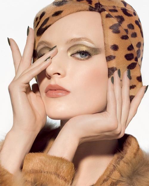 Осенняя коллекция макияжа Christian Dior Golden Jungle Fall 2012 русская модель Дарья Строкоус (Daria Strokous)