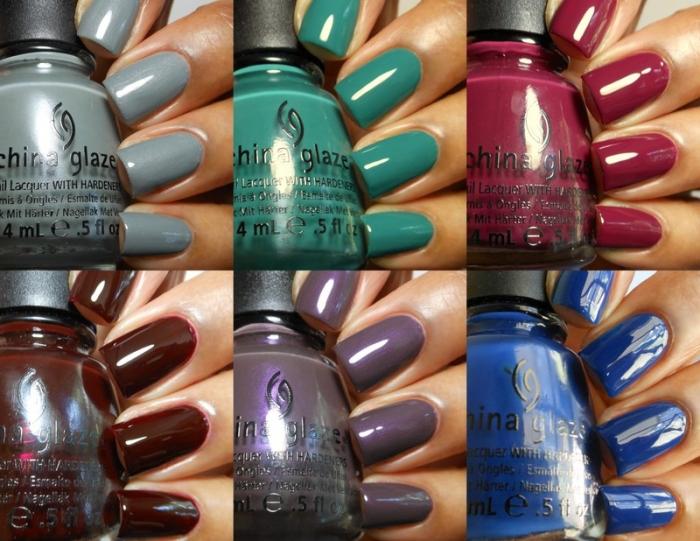 Свотчи на ногтях Осенняя коллекция лаков для ногтей China Glaze On Safari Collection for Fall 2012