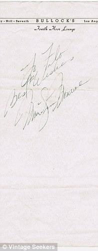 Запись Мерилин монро в блокноте с подписью. 1950 год. Продано за 8 000 USD