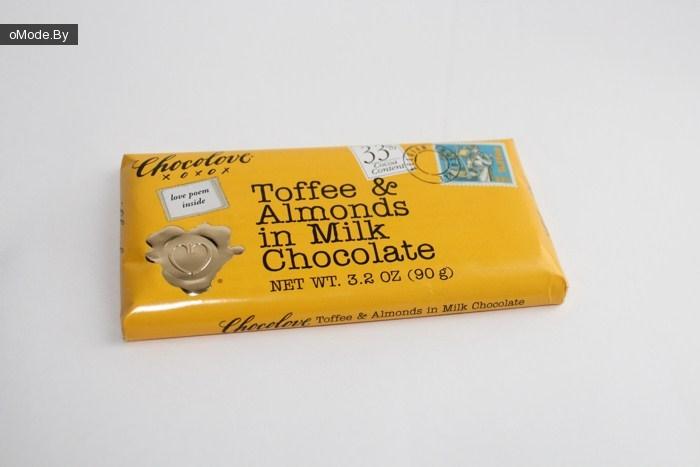 Органический молочный шоколад Chocolove, Toffee & Almonds in Milk Chocolate и Chocolove, Milk Chocolate (оба по 90 гр.)