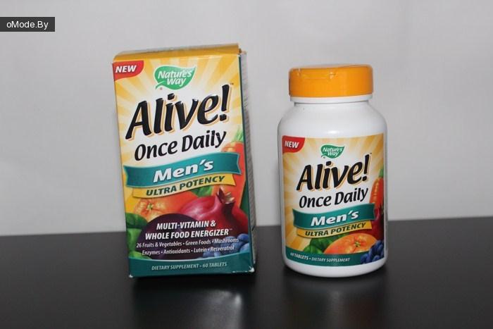 Мультивитамины для мужчин Nature's Way, Alive! Once Daily, Men's Ultra Potency Multi-Vitamin & Whole Food Energizer, (60 таблеток)