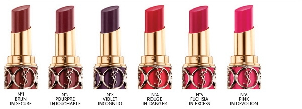 Весенняя коллекция губных помад YSL Beauty Rouge Volupte Shine Spring 2013 Collection №01 Brun In Secure №02 Poupre Intouchable №03 Violet Incognito №04 Rouge In Danger №05 Fuchsia In Excess №06 Pink In Devotion