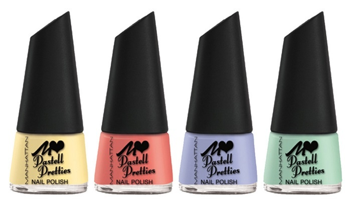 Быстросохнущий лак для ногтей Manhattan Pastell Pretties Quick Dry Nail Polish - Baby Buttercup, Pale Poppy, Blossom Blues, Miss Mimosa