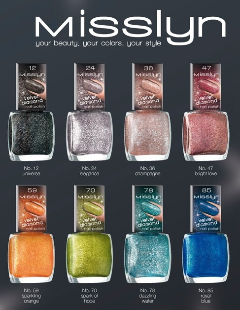 Новая коллекция лаков для ногтей Misslyn Velvet Diamonds Nail Polish Collection
