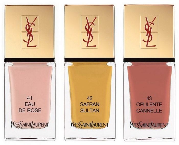 Весенняя коллекция лаков для ногтей YSL La Laque Couture Spicy Spring 2014 Collection оттенки: №41 Eau de Rose №42 Safran Sultan №43 Opulente Cannelle