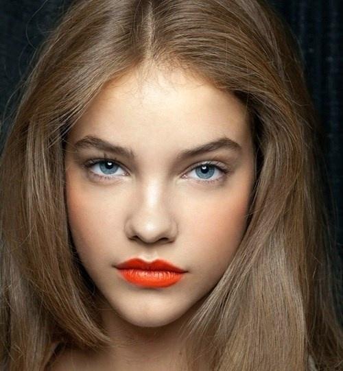 модный макияж 2014 - Оранжевые губы