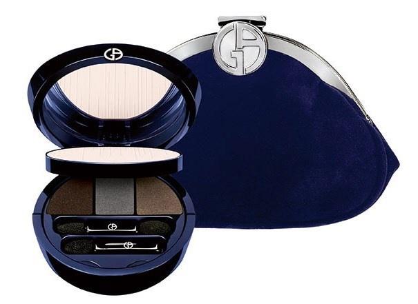 Палетка для макияжа и бархатный синий клатч Giorgio Armani Holiday Palette & Clutch